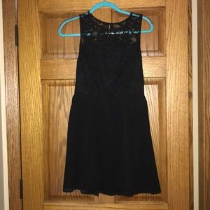 Lily Rose Black Dress with Lace Top Junior Size L